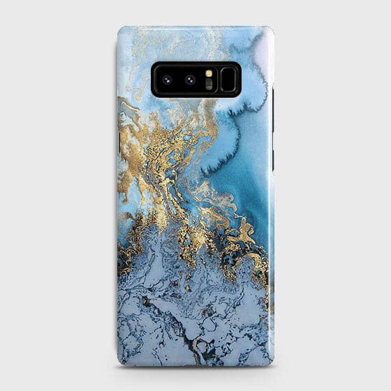 Samsung Galaxy Note 8 - Trendy Golden & Blue Ocean Marble Printed Hard Case with Life Time Colors Guarantee - OrderNation