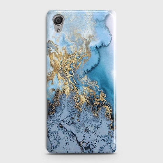 Sony Xperia XA - Trendy Golden & Blue Ocean Marble Printed Hard Case with Life Time Colors Guarantee