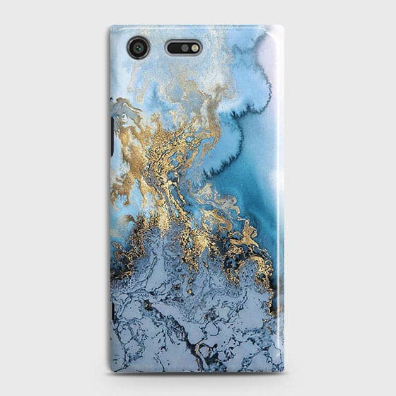 3D Trendy Golden & Blue Ocean Marble Case For Sony Xperia XZ Premium