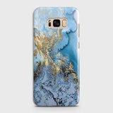 3D Trendy Golden & Blue Ocean Marble Case For Samsung Galaxy S8