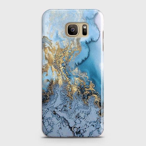 3D Trendy Golden & Blue Ocean Marble Case For Samsung Galaxy S7 Edge