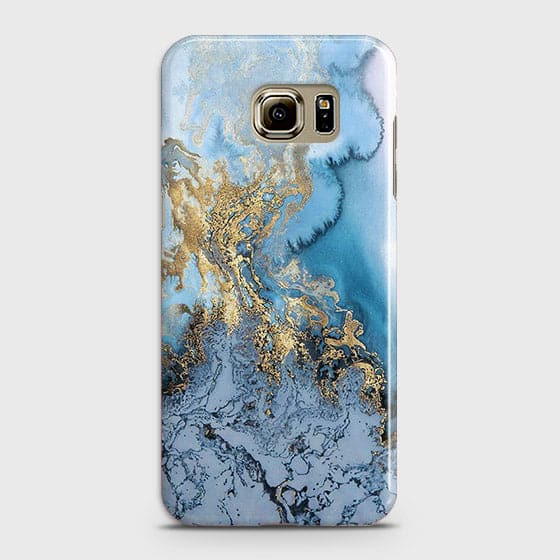 Samsung Galaxy S6 Edge Plus - Trendy Golden & Blue Ocean Marble Printed Hard Case with Life Time Colors Guarantee - OrderNation