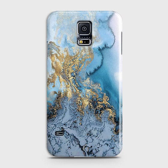 3D Trendy Golden & Blue Ocean Marble Case For Samsung Galaxy S5