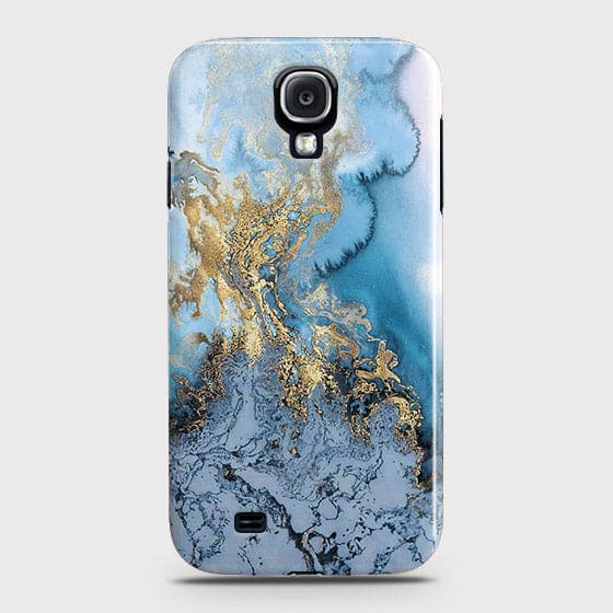 3D Trendy Golden & Blue Ocean Marble Case For Samsung Galaxy S4