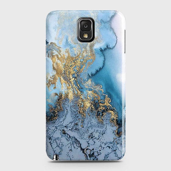 Samsung Galaxy Note 3 - Trendy Golden & Blue Ocean Marble Printed Hard Case with Life Time Colors Guarantee - OrderNation