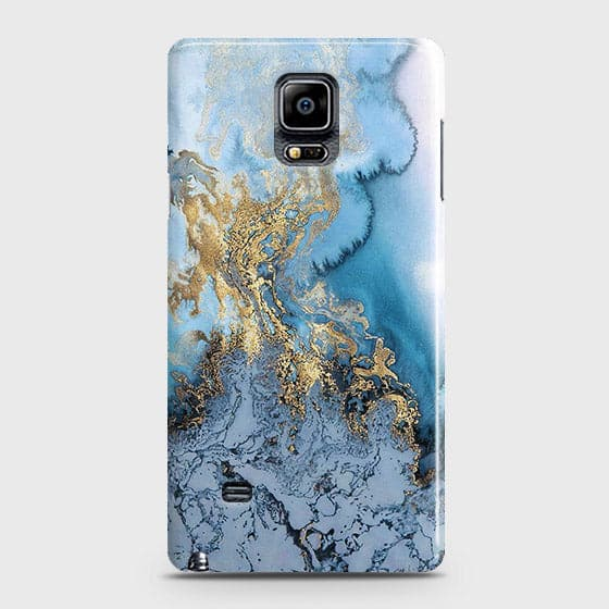 3D Trendy Golden & Blue Ocean Marble Case For Samsung Galaxy Note 4
