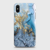 3D Trendy Golden & Blue Ocean Marble Case For iPhone XS Max