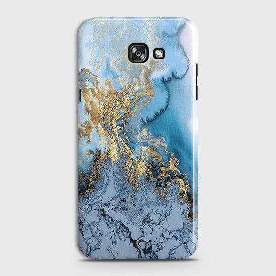3D Trendy Golden & Blue Ocean Marble Case For Samsung A5 2017