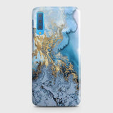 3D Trendy Golden & Blue Ocean Marble Case For Samsung A7 2018