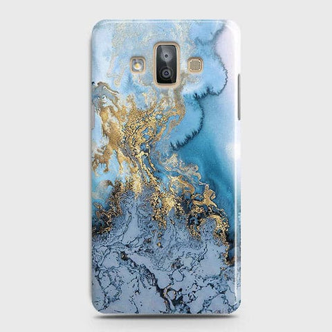 Samsung Galaxy J7 Duo - Trendy Golden & Blue Ocean Marble Printed Hard Case with Life Time Colors Guarantee - OrderNation
