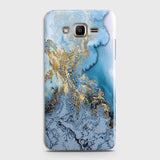 Samsung Galaxy J7 - Trendy Golden & Blue Ocean Marble Printed Hard Case with Life Time Colors Guarantee - OrderNation