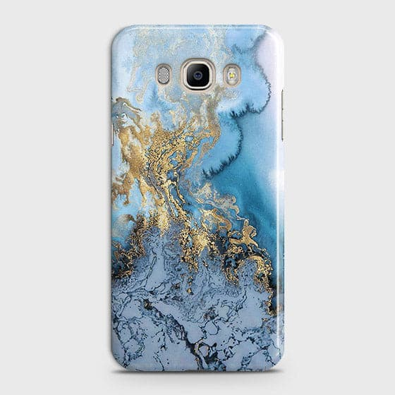 3D Trendy Golden & Blue Ocean Marble Case For Samsung Galaxy J510