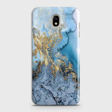 3D Trendy Golden & Blue Ocean Marble Case For Samsung Galaxy J5 2017