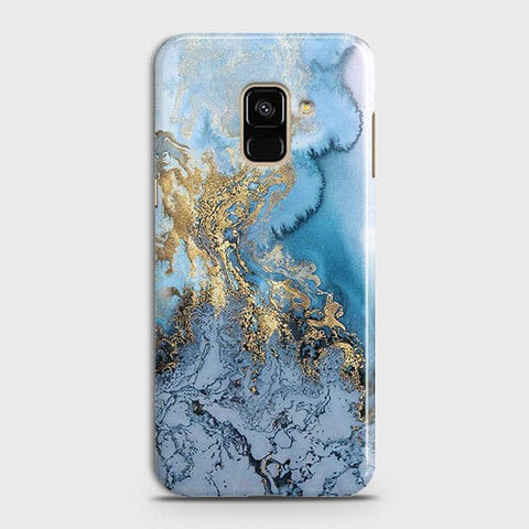 3D Trendy Golden & Blue Ocean Marble Case For Samsung A8 2018