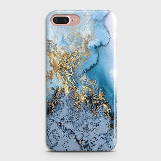 3D Trendy Golden & Blue Ocean Marble Case For iPhone 7 Plus & iPhone 8 Plus