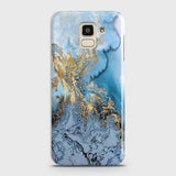 3D Trendy Golden & Blue Ocean Marble Case For Samsung J6 2018