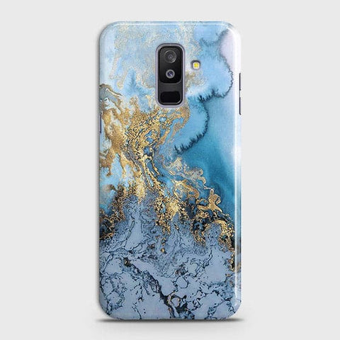 Samsung A6 Plus 2018 - Trendy Golden & Blue Ocean Marble Printed Hard Case with Life Time Colors Guarantee - OrderNation