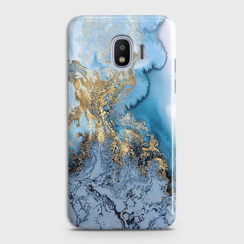 Samsung Galaxy J4 - Trendy Golden & Blue Ocean Marble Printed Hard Case with Life Time Colors Guarantee - OrderNation