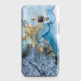 3D Trendy Golden & Blue Ocean Marble Case For Samsung Galaxy J1 2016 / J120