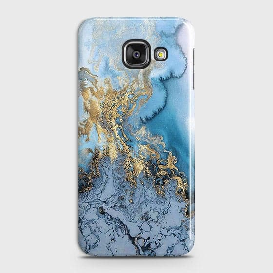 Samsung Galaxy J7 Max - Trendy Golden & Blue Ocean Marble Printed Hard Case with Life Time Colors Guarantee - OrderNation