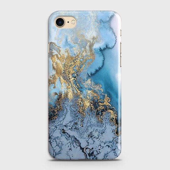 Printed Trendy Golden & Blue Ocean Marble Case with Life Time Color Guarantee For iPhone 7 & iPhone 8 - OrderNation