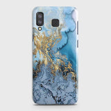 3D Trendy Golden & Blue Ocean Marble Case For Samsung A8 Star