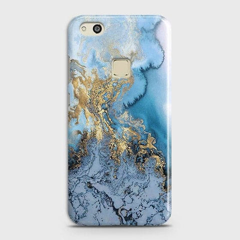 Printed Trendy Golden & Blue Ocean Marble Case with Life Time Color Guarantee For Huawei P10 Lite - OrderNation