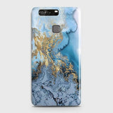 3D Trendy Golden & Blue Ocean Marble Case For Huawei P9