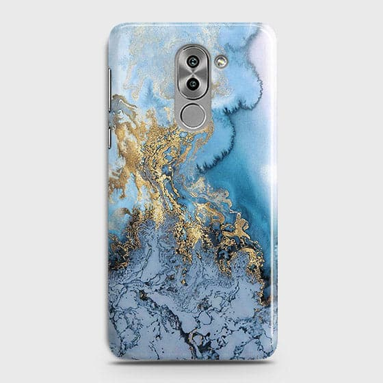 3D Trendy Golden & Blue Ocean Marble Case For Huawei Honor 6X