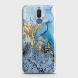 3D Trendy Golden & Blue Ocean Marble Case For Huawei Mate 10 Lite