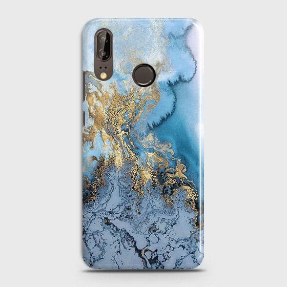 3D Trendy Golden & Blue Ocean Marble Case For Huawei P20