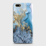Huawei Y5 Prime 2018- Trendy Golden & Blue Ocean Marble Printed Hard Case with Life Time Colors Guarantee - OrderNation