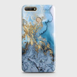 3D Trendy Golden & Blue Ocean Marble Case For Huawei Y7 2018