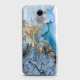 3D Trendy Golden & Blue Ocean Marble Case For Huawei Y7 Prime