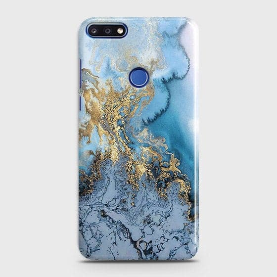 3D Trendy Golden & Blue Ocean Marble Case For Huawei Y7 Prime 2018