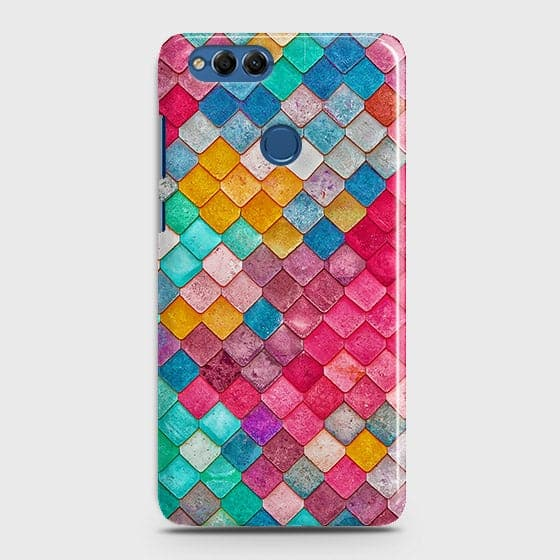Huawei Honor 7X Cover - Chic Colorful Mermaid Printed Hard Case with Life Time Colors Guarantee