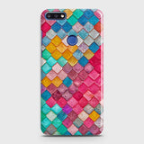 Huawei Y7 Prime 2018 Cover - Chic Colorful Mermaid Printed Hard Case with Life Time Colors Guarantee