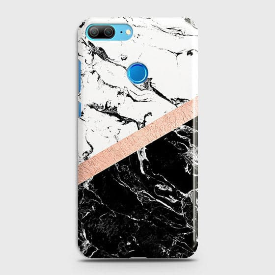 Huawei Honor 9 Lite Cover - Black & White Marble With Chic RoseGold Strip Case with Life Time Colors Guarantee
