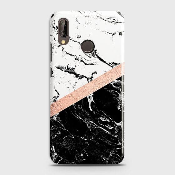 Huawei Nova 3 Cover - Black & White Marble With Chic RoseGold Strip Case with Life Time Colors Guarantee