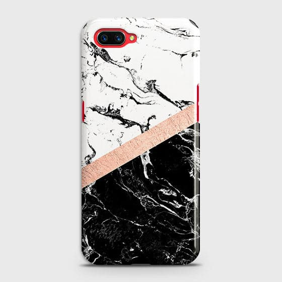 Oppo A5 Cover - Black & White Marble With Chic RoseGold Strip Case with Life Time Colors Guarantee