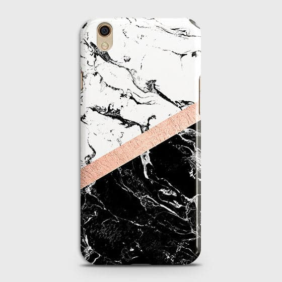 3D Black & White Marble With Chic RoseGold Strip Case For Oppo A37