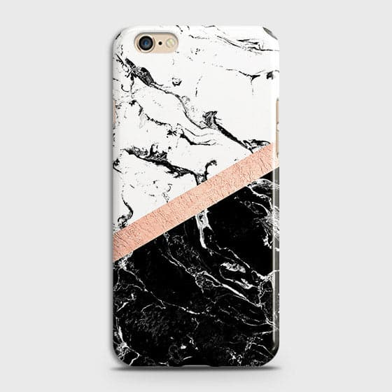 Printed Black & White Marble With Chic RoseGold Strip Case with Life Time Color Guarantee For Oppo A57