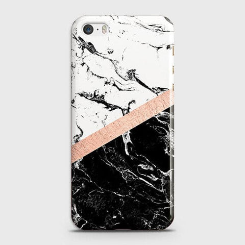 3D Black & White Marble With Chic RoseGold Strip Case For iPhone 5 & iPhone SE