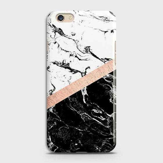 Printed Black & White Marble With Chic RoseGold Strip Case with Life Time Colors Guarantee For Oppo F3
