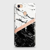 Oppo F5 / F5 Youth Cover - Black & White Marble With Chic RoseGold Strip Case with Life Time Colors Guarantee