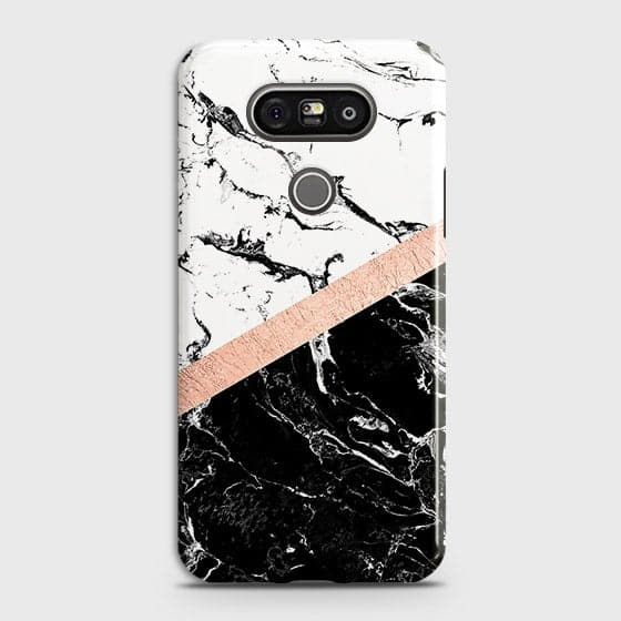 LG G5 Cover - Black & White Marble With Chic RoseGold Strip Case with Life Time Colors Guarantee
