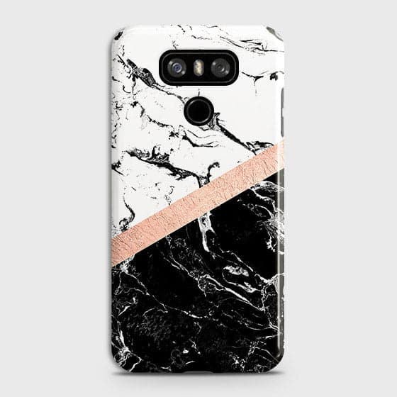 3D Black & White Marble With Chic RoseGold Strip Case For LG G6