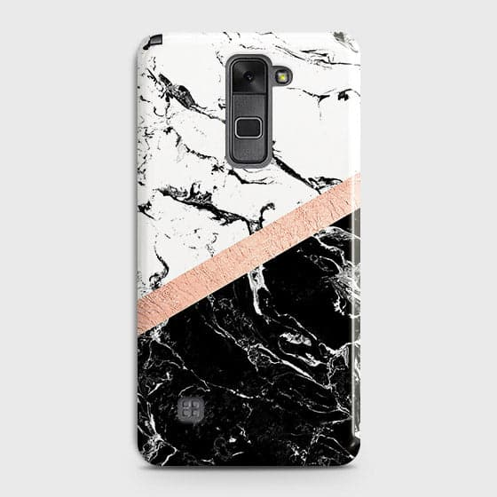 LG Stylus 2 / Stylus 2 Plus / Stylo 2 / Stylo 2 Plus Cover - Black & White Marble With Chic RoseGold Strip Case with Life Time Colors Guarantee