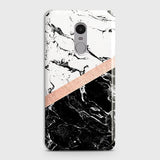 3D Black & White Marble With Chic RoseGold Strip Case For Xiaomi Redmi 4X