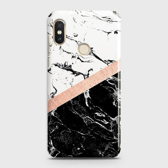 3D Black & White Marble With Chic RoseGold Strip Case For Xiaomi Redmi S2